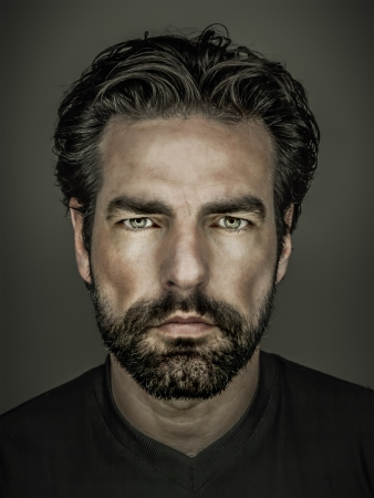 male fashion model: An image of a handsome man with a beard