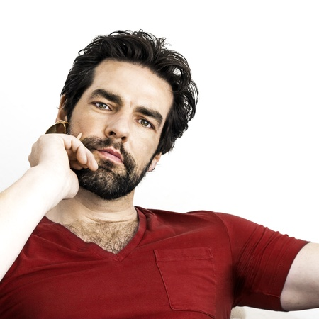 man with beard: An image of a handsome man with a beard