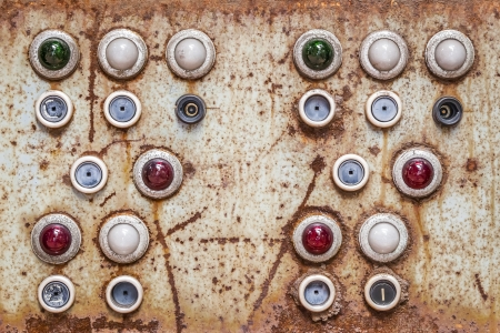 engine room: An image of an old switching panel Stock Photo