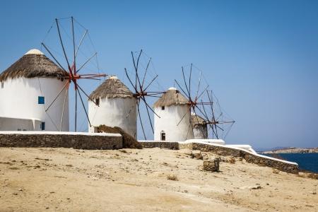 mykonos: An image of a nice wind mill at Myconos Greece Stock Photo