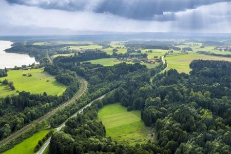 Een afbeelding van een panoramisch luchtfoto Beieren Stockfoto