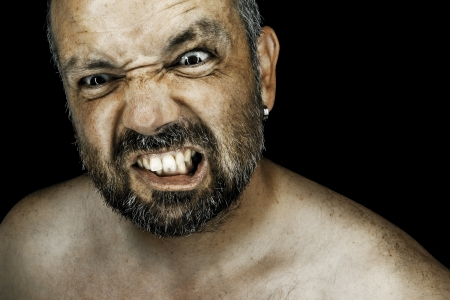 angry man: An image of an angry man with a beard