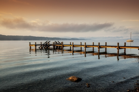 old pier: An old jetty at Starnberg Lake in Germany