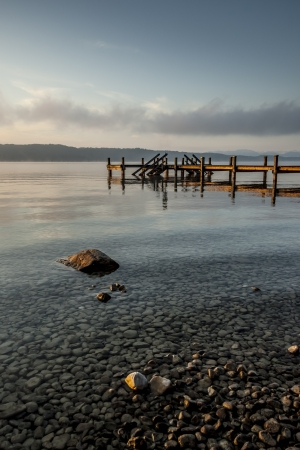 Pebble Beach: An old jetty at Starnberg Lake in Germany