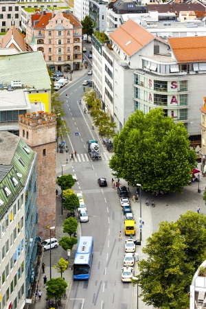 An image of a Munich street from above photo