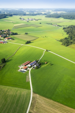 hills land: An image of a flight over the bavarian landscape Stock Photo