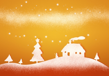a nice orange christmas landscapes paper background photo
