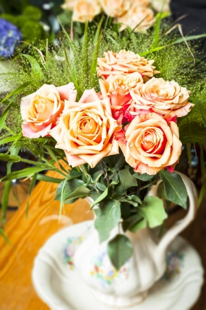 orange rose: An image of a nice bouquet of roses Stock Photo