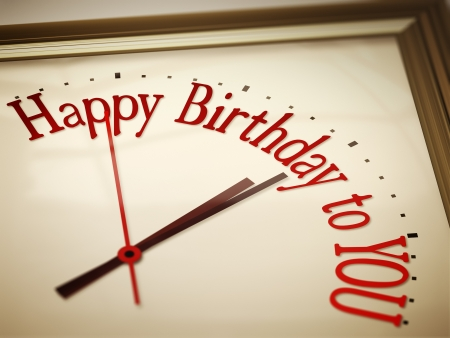 happy birthday text: A nice vintage clock with happy birthday to you