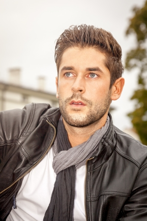 males only: An image of a handsome young man in the autumn Stock Photo