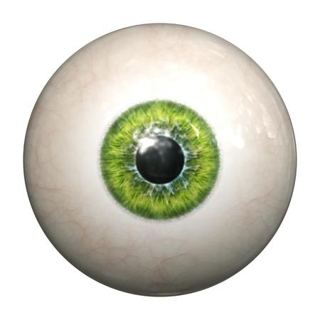 globo ocular: Una imagen de un globo ocular verde aislado Foto de archivo