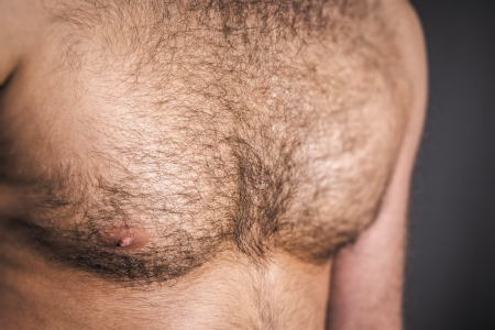 nude male: An image of a nice hairy chest Stock Photo