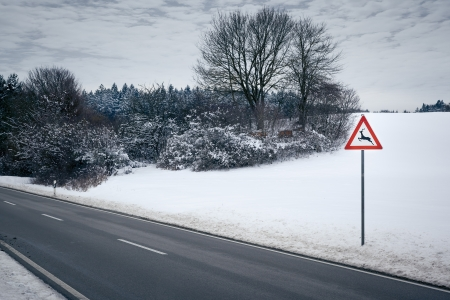An image of a road in a winter scenery photo