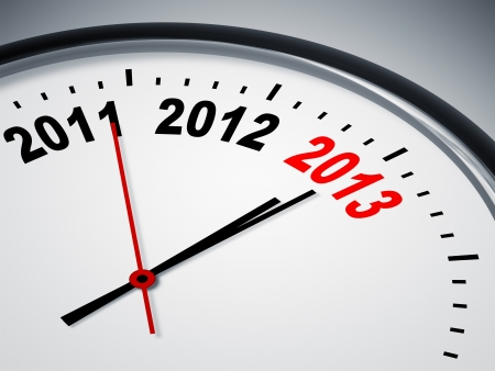 An image of a nice clock with 2011 2012 2013 Stock Photo