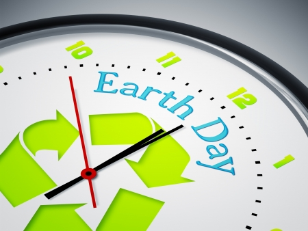climate change: An image of a nice clock with Earth Day