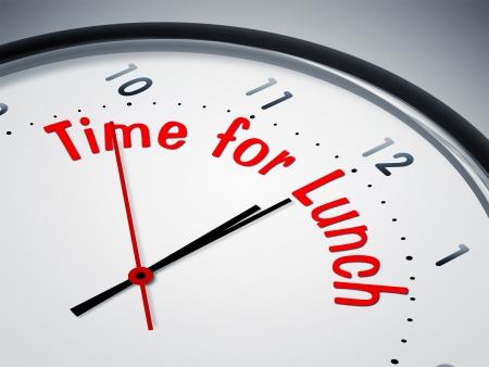 negocios comida: Una imagen de un bonito reloj con la hora del almuerzo