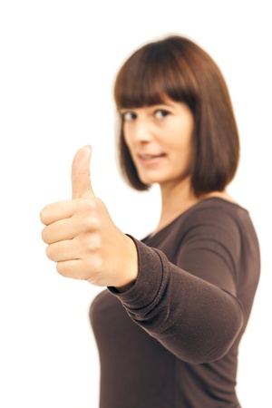 An image of a woman with thumb up photo