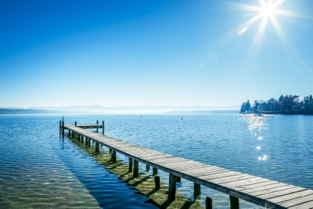 An old jetty at Starnberg Lake in Germany photo