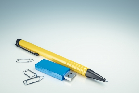 usb drive: An image of a usb drive and a ballpen