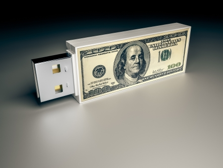 An image of a usb drive with a dollar note Standard-Bild