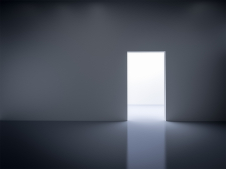 door way: An image of an empty dark room