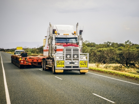 oversize: An image of an oversize road truck in Australia Editorial