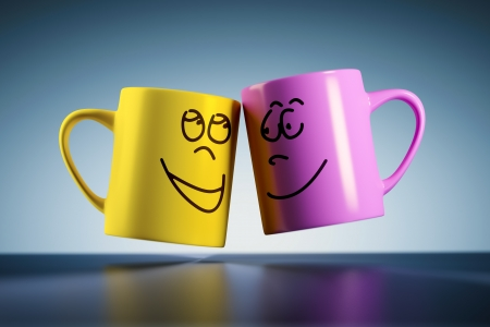 weightless: An image of two weightless coffee mugs with faces
