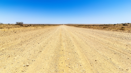 off track: An image of a desert road to the horizon