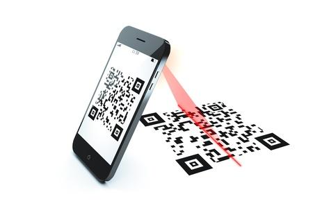 bar code reader: Una imagen de un esc�ner de c�digo QR tel�fono m�vil