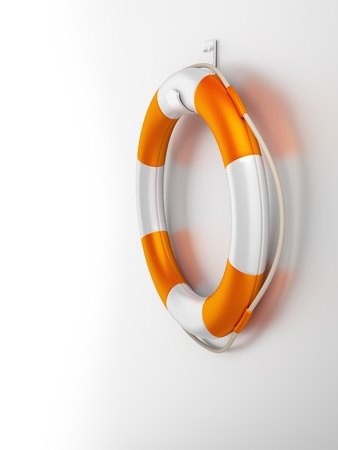saver: An image of an orange white life saver at the wall