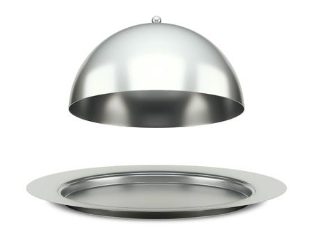 trays: Een afbeelding van een eet zilveren cloche schotel