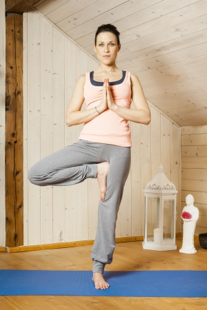 An image of a pretty woman doing yoga at home Stock Photo - 18687650