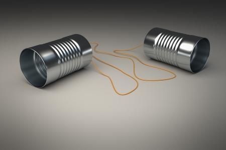 tin cans: Een beeld van een lieve blikjes telefoon Stockfoto