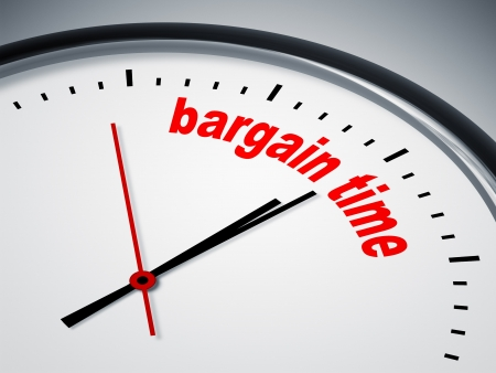 bargain: An image of a nice clock with bargain time