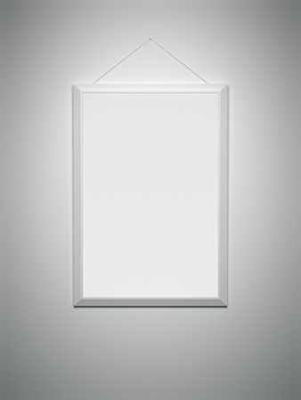 An image of a white frame on a white wall photo