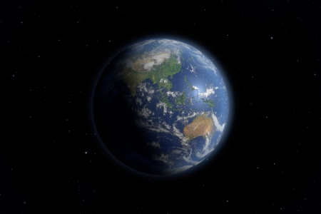An image of an Earth view from space.   photo