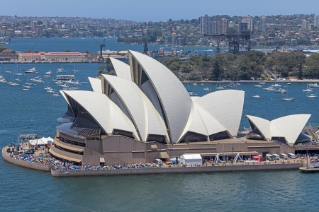 sydney harbour: An image of the beautiful architecture Sydney Opera House