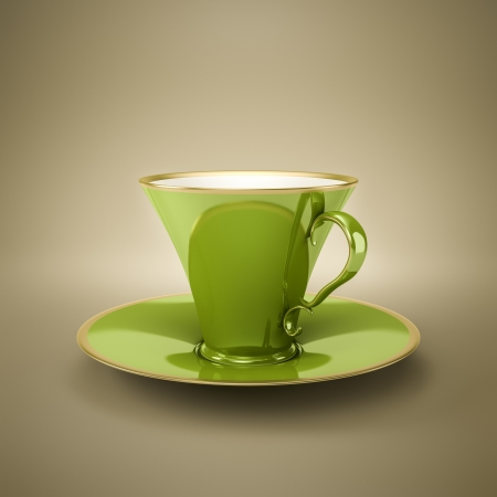 An image of an elegant green vintage coffee cup photo