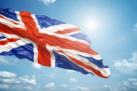 bandera de gran bretaña: Una imagen de la Union Jack en el cielo azul