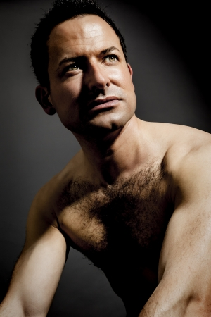 hairy chest: An image of a muscular male portrait