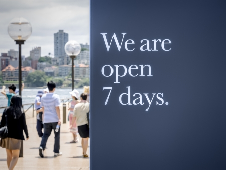 A display with we are open seven days. Stock Photo - 19151360