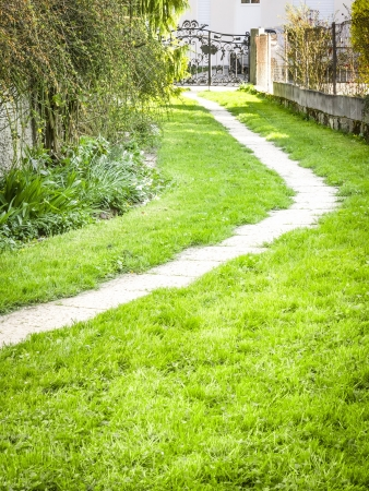 An image of a path in the garden photo
