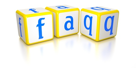 frequently: An image of frequently asked questions dice Stock Photo