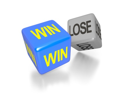 games of chance: An image of a win and a lose dice