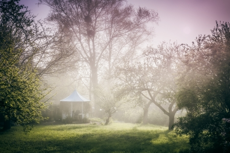 garden of eden: An image of a pavilion in the garden mood Stock Photo