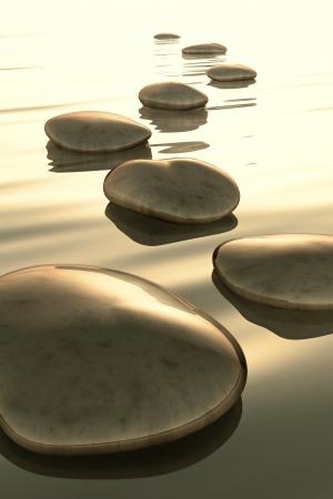 white pebble: An image of golden light step stones