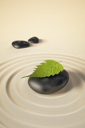 zen like: An image of a nice zen background with black stones and a leaf Stock Photo