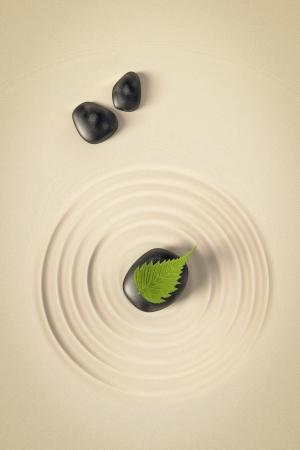 piedras zen: Una imagen de un bonito fondo zen con piedras negras y una hoja Foto de archivo
