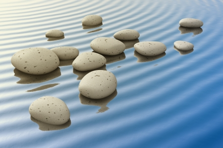 An image of a nice zen background with white stones in the water Stock Photo - 19606367