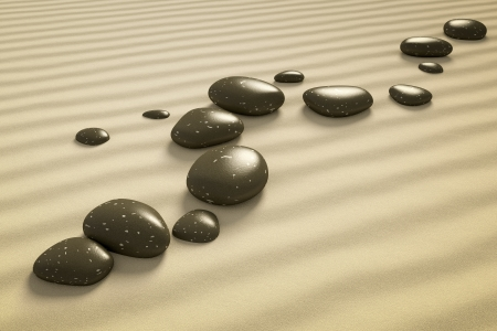 An image of a nice zen background with black stones in the sand Stock Photo - 19606368